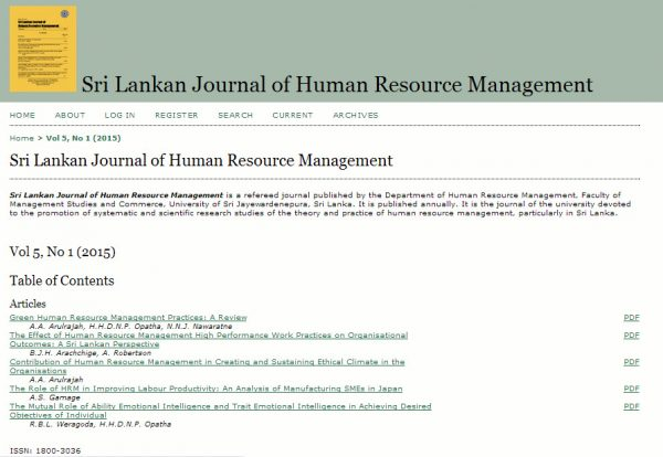 Sri Lanka Journal of Human Resource Management 2015