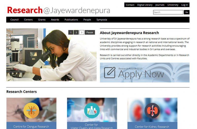 research website jayewardenepura