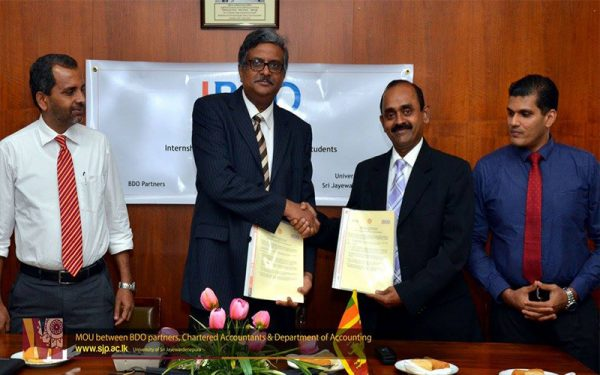 MOU between BDO partners, Chartered accountants and Department of Accounting