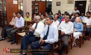 Donation in memory of late Mr. K.D.K. Dharmawardena