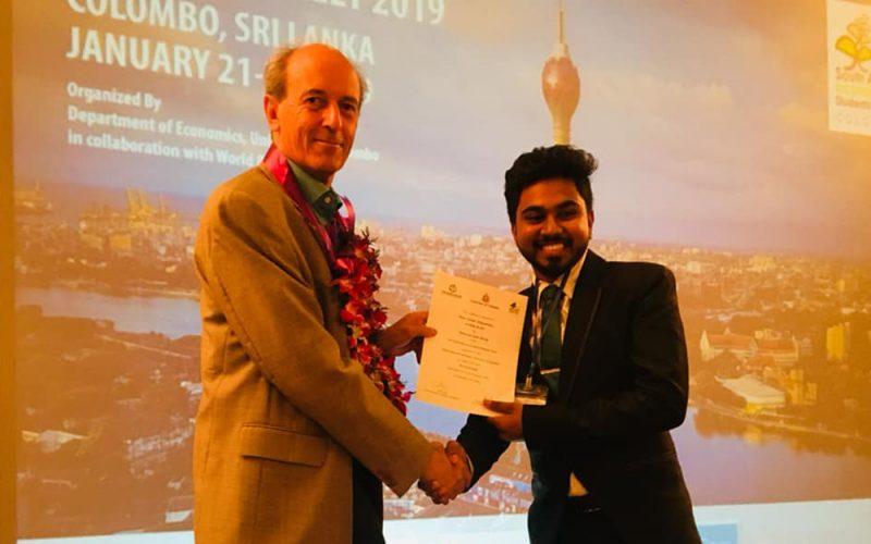 Mr. Pasan Wijayawardhana; Undergraduate of the FMSC wins Best Paper Award at SAESM 2019