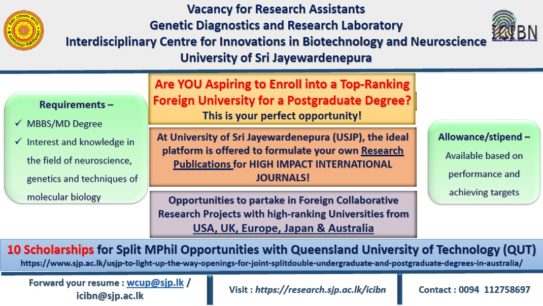Vacancy for the Post of Research Assistant-Genetic Diagnostics